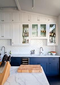 two toned kitchen, subway tile