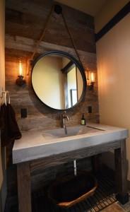 wood wall detail, statement mirror